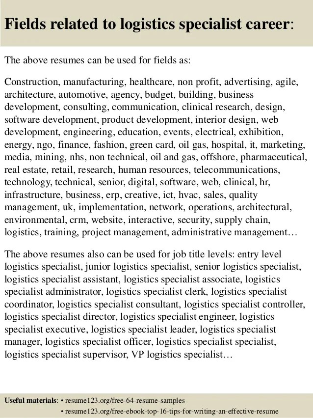 Top 8 Logistics Specialist Resume Samples  Logistics Specialist Resume