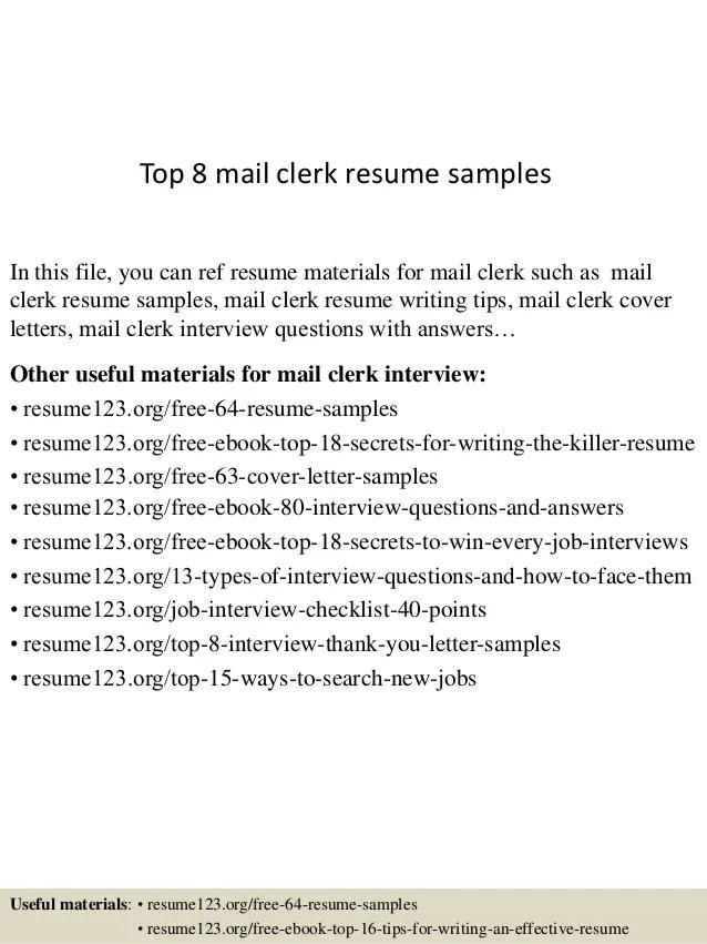 Mail Clerk Resume Resume Ideas