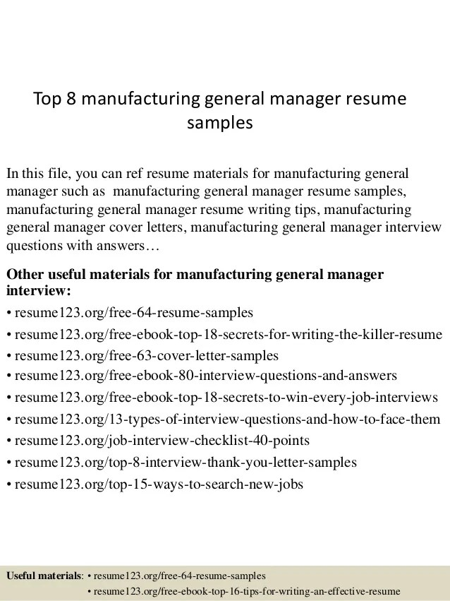 manufacturing manager resume samples