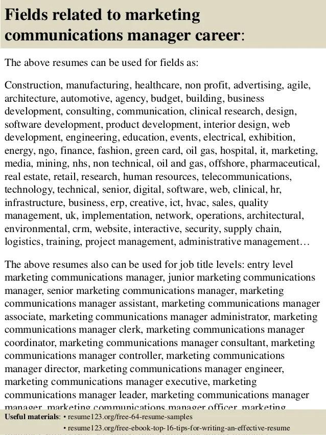 marketing communications manager resume templates