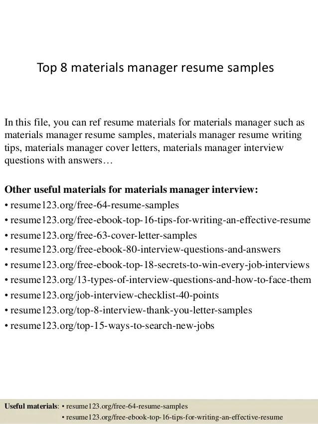 Nice Top 8 Materials Manager Resume Samples 1 638 ?cbu003d1427960767 With Materials Manager Resume