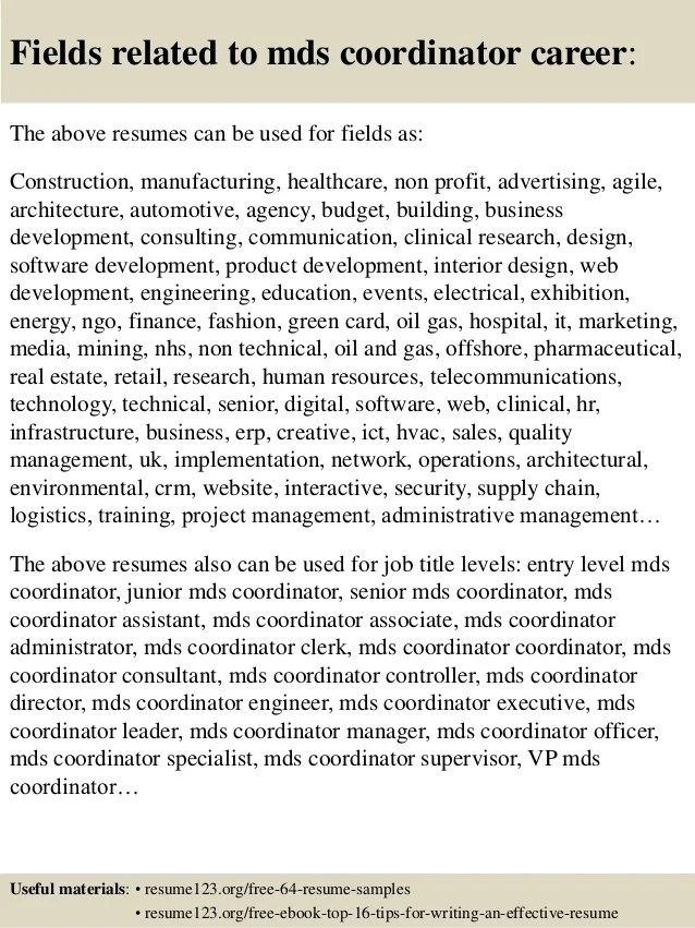 Top 8 mds coordinator resume samples