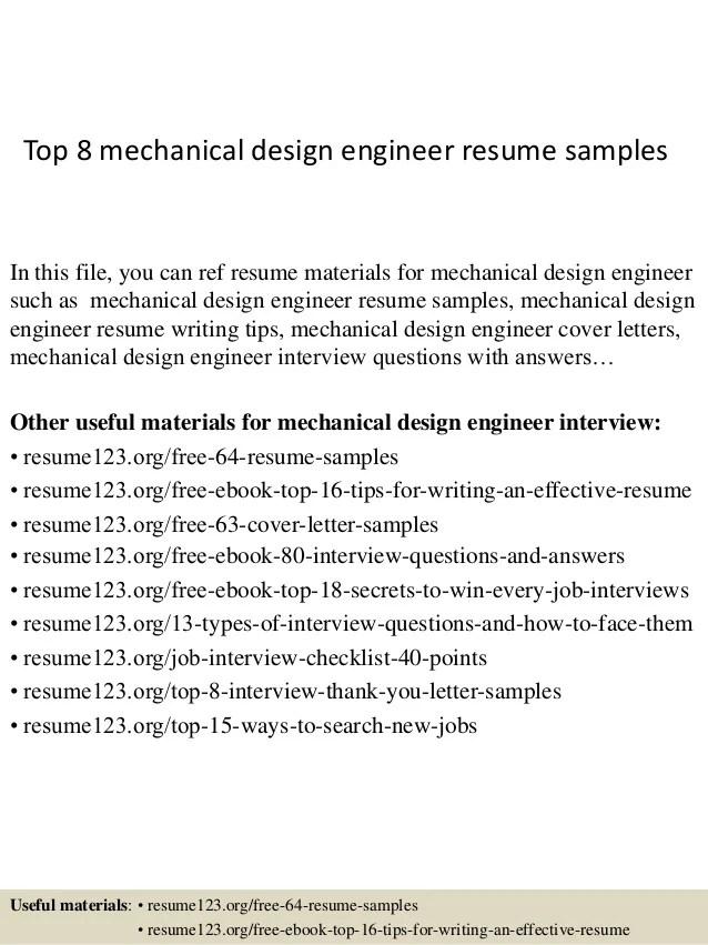mechanical design engineer sample resume - Template