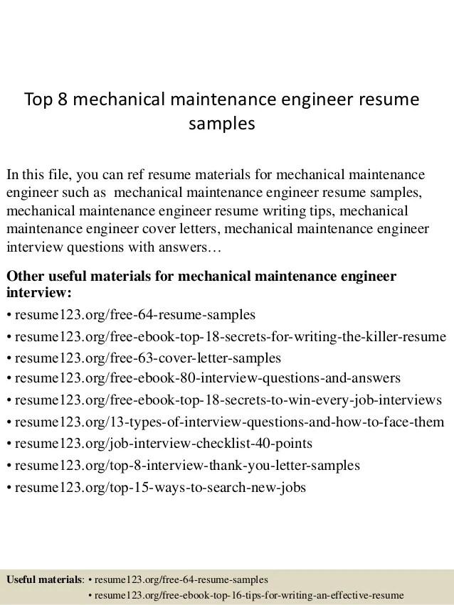Top 8 Mechanical Maintenance Engineer Resume Samples
