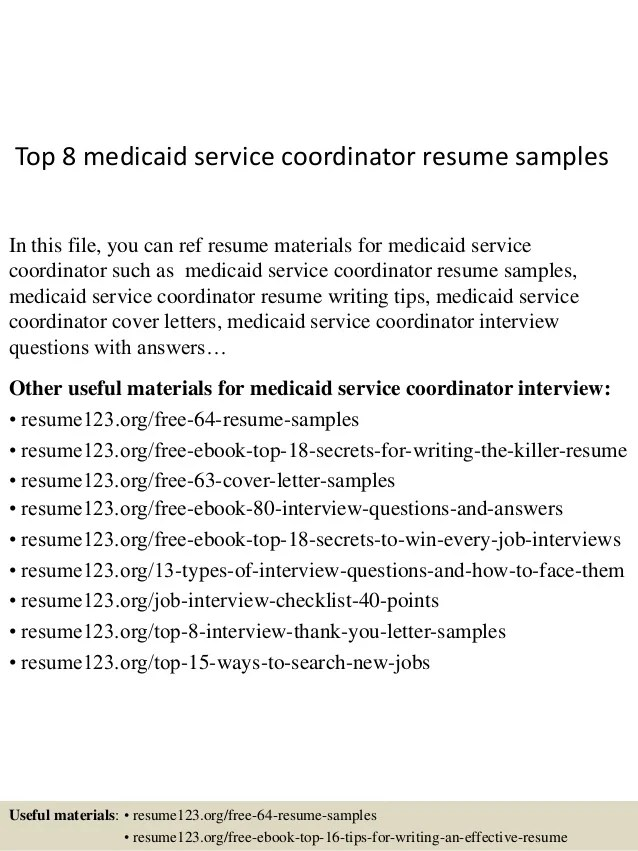 Top 8 Medicaid Service Coordinator Resume Samples