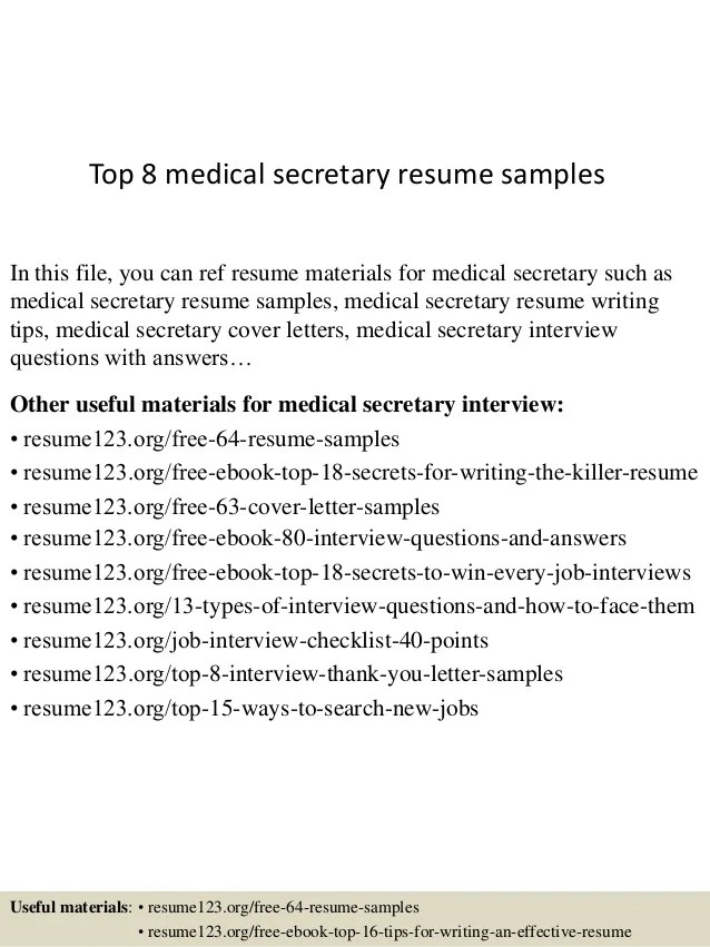 Top 8 Medical Secretary Resume Samples 1 638 ?cb=1430027538
