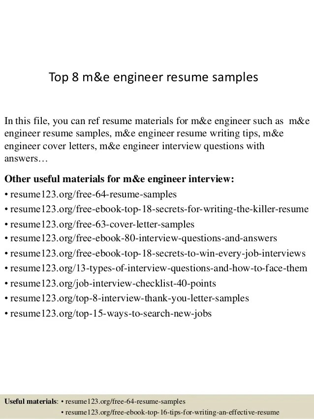 Top 8 M&e Engineer Resume Samples