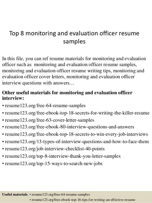 Top 8 Monitoring And Evaluation Officer Resume Samples