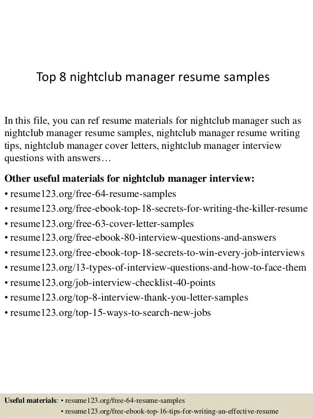 sample resume for club manager