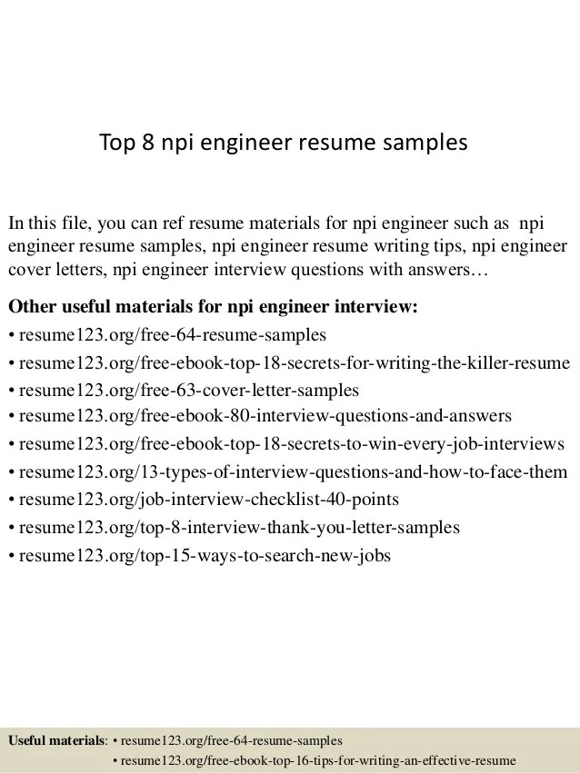 Top 8 Npi Engineer Resume Samples