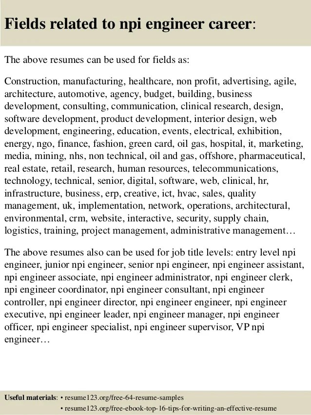 Top 8 npi engineer resume samples