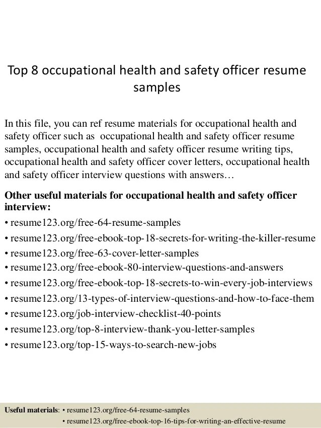 Top 8 Occupational Health And Safety Officer Resume Samples 1 638  ?cbu003d1431771346