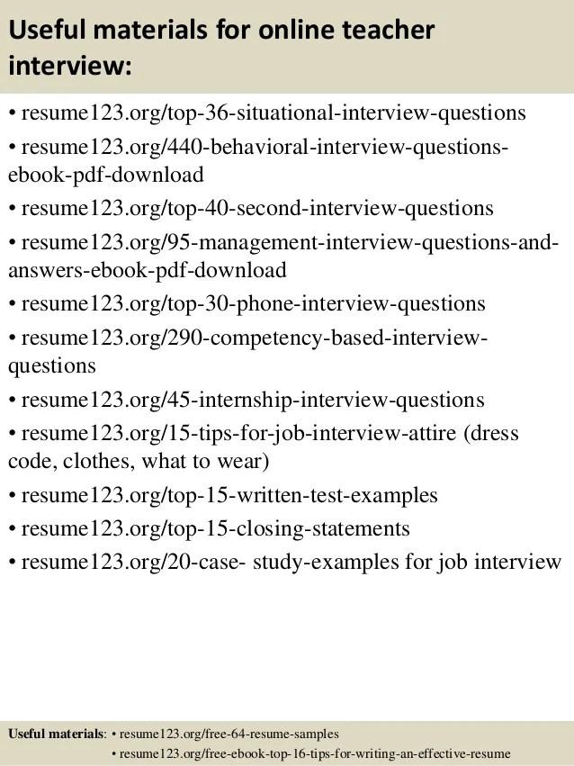Top 8 Online Teacher Resume Samples