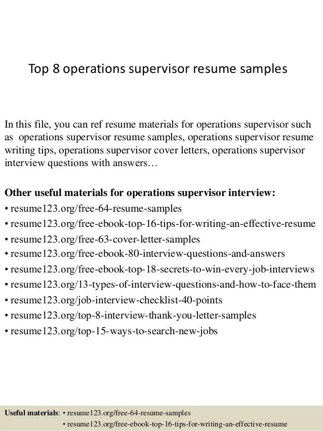 Top 8 Operations Supervisor Resume Samples 1 638 ?cb=1427856585