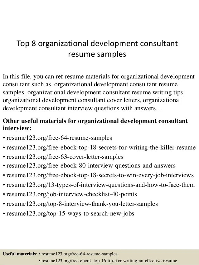 Top 8 Organizational Development Consultant Resume Samples