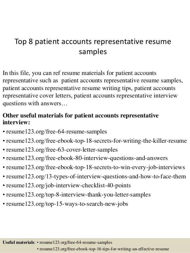 Top 8 patient accounts representative resume samples