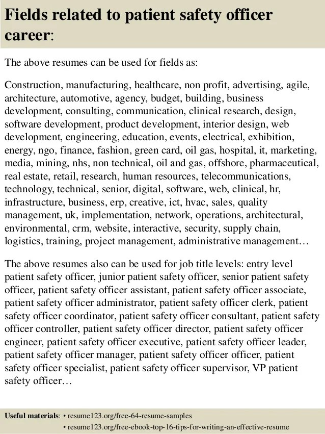 Top 8 patient safety officer resume samples