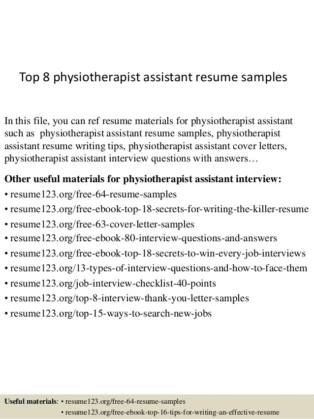 Top 8 Physiotherapist Assistant Resume Samples 1 638 ?cb=1431471221