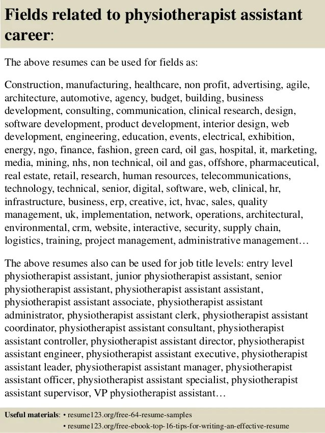 Top 8 Physiotherapist Assistant Resume Samples
