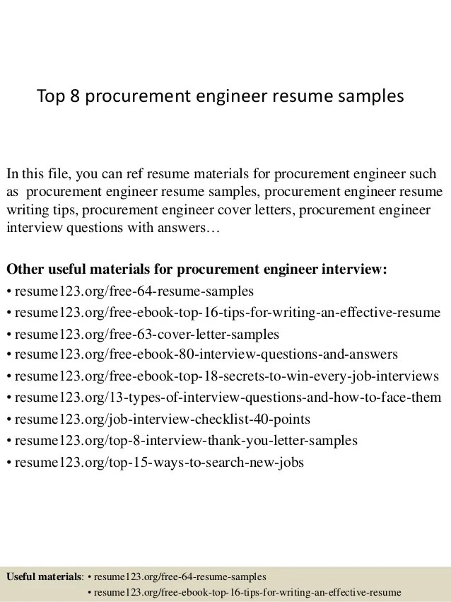 procurement engineer resume samples