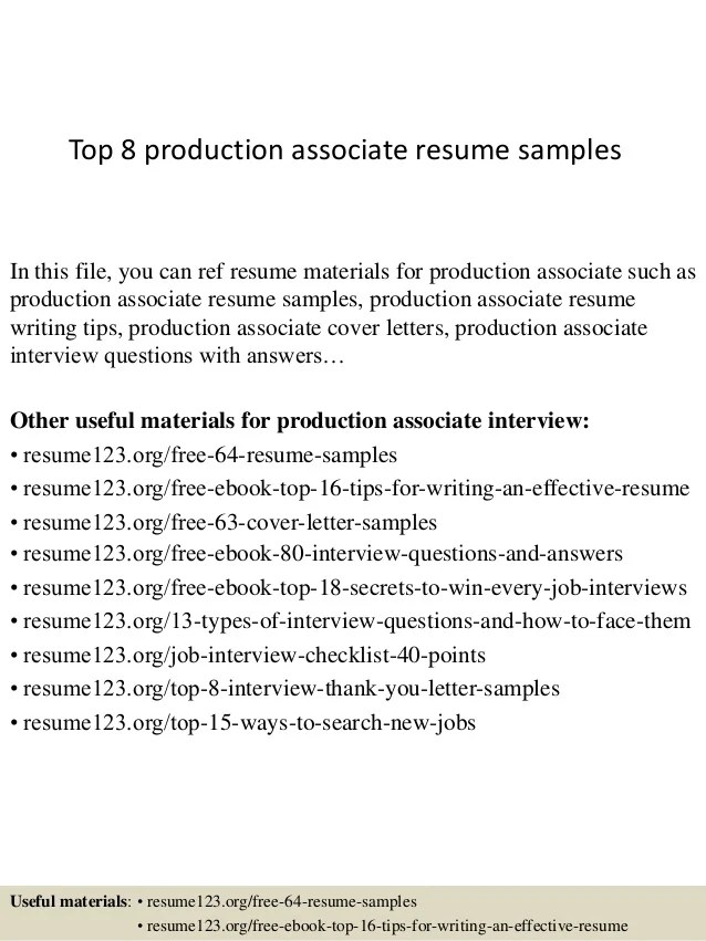 Top 8 production associate resume samples