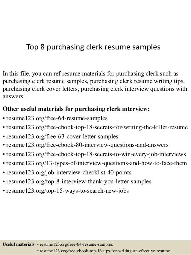 Purchasing Clerk Sample Resume Top 8 Purchasing Clerk Resume