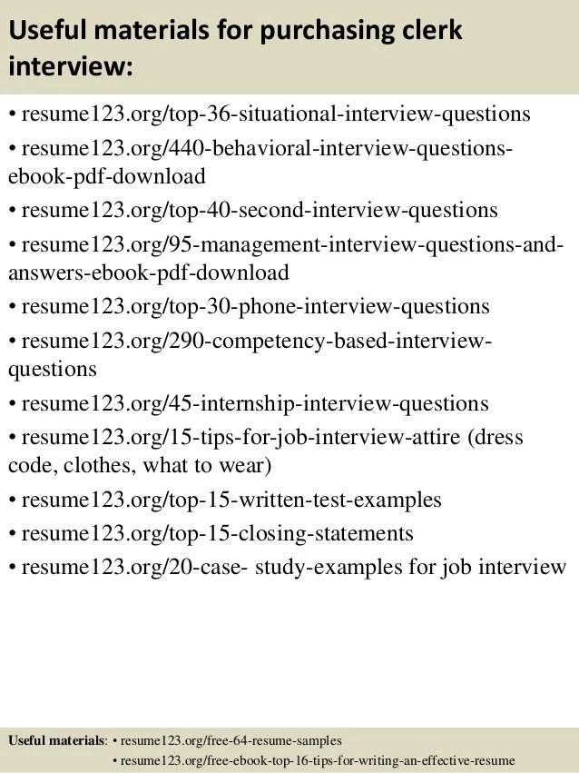 Top 8 purchasing clerk resume samples