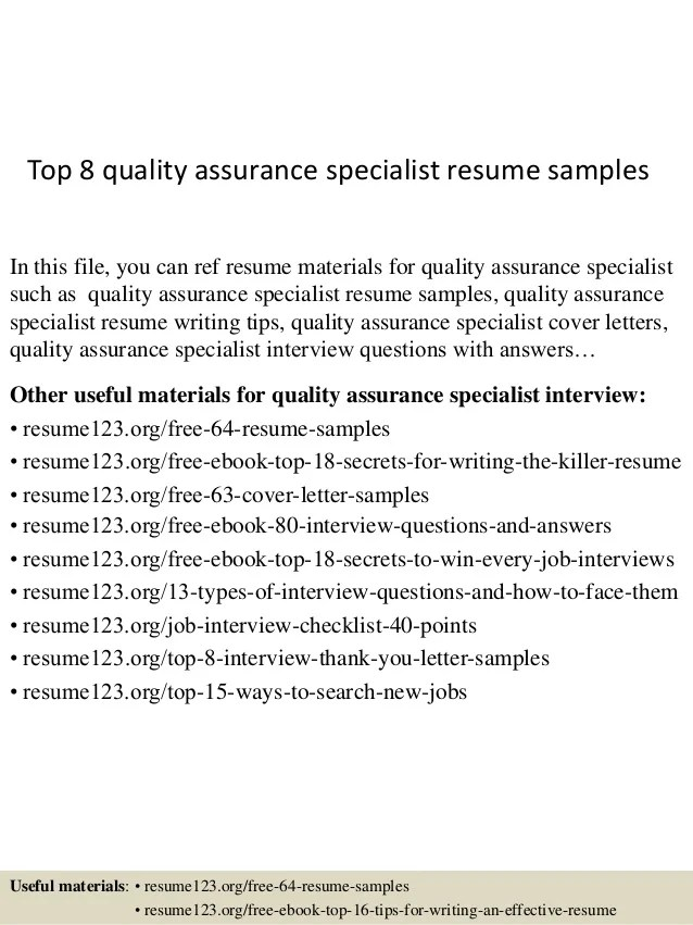 Top 8 Quality Assurance Specialist Resume Samples 1 638 ?cb=1430028867
