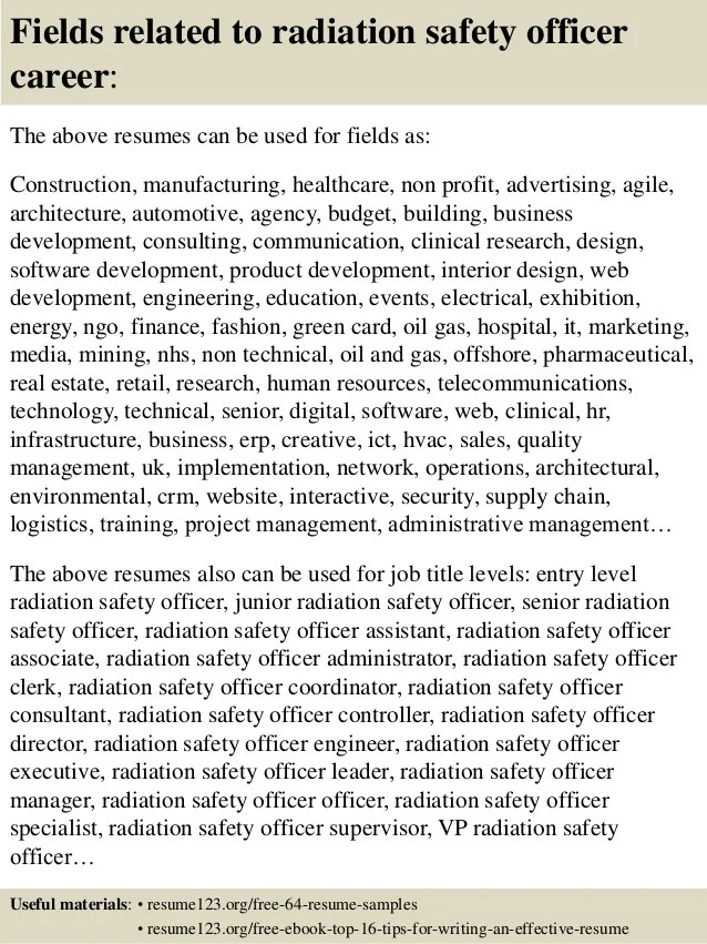 Top 8 Radiation Safety Officer Resume Samples
