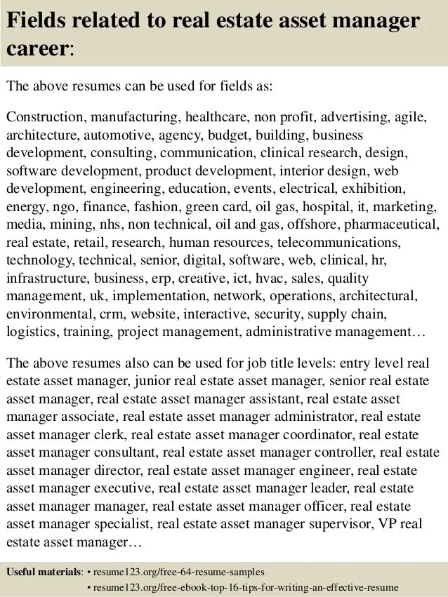Resume Objective For Real Estate Assistant