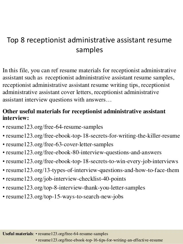Top 8 Receptionist Administrative Assistant Resume Samples
