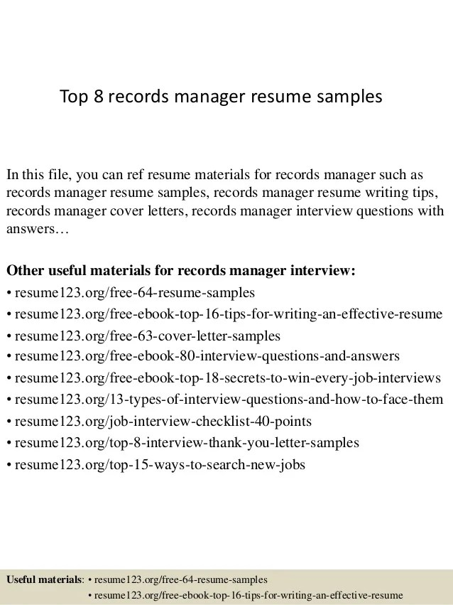 Top 8 Records Manager Resume Samples
