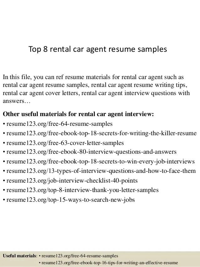 Top 8 rental car agent resume samples