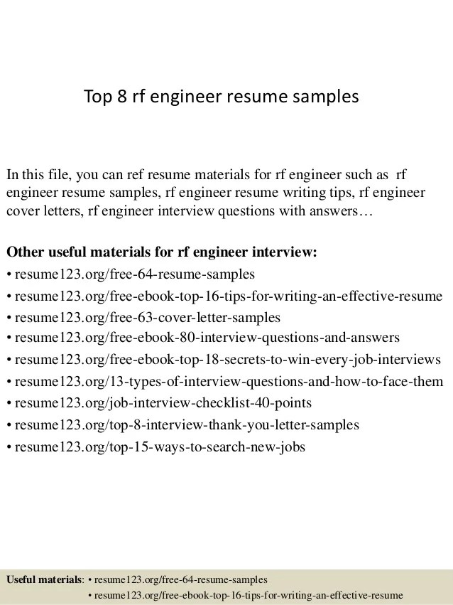Cover Letter Rf Systems Engineer Sample Resume