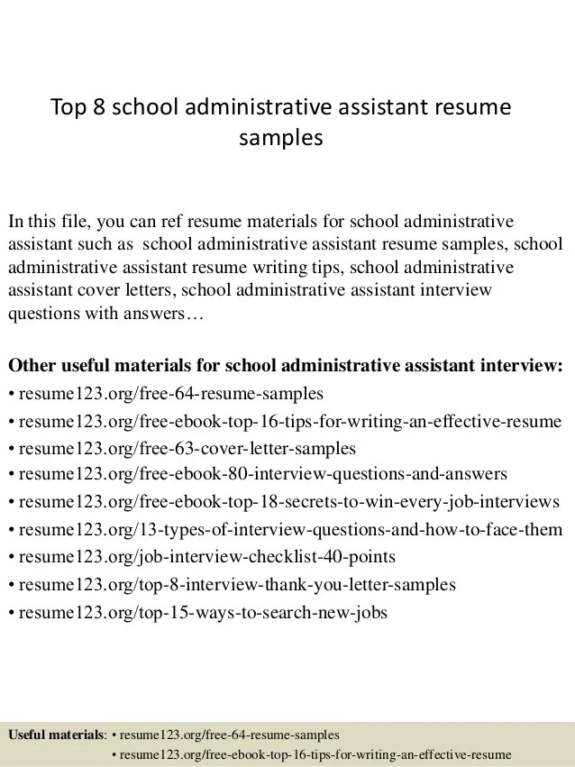 Top 8 School Administrative Assistant Resume Samples