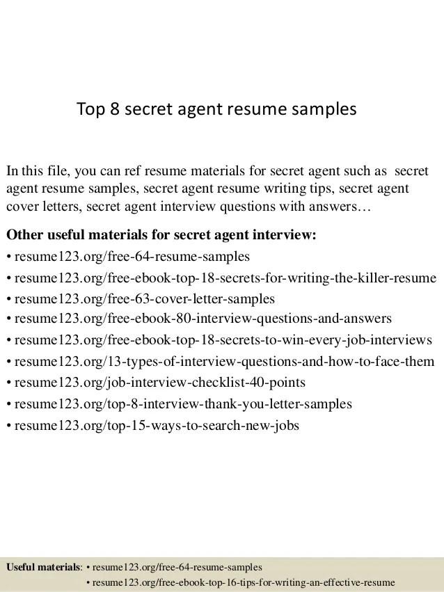 Top 8 secret agent resume samples