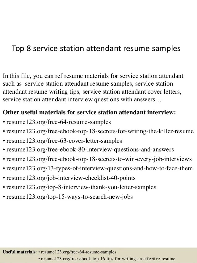 Top 8 service station attendant resume samples