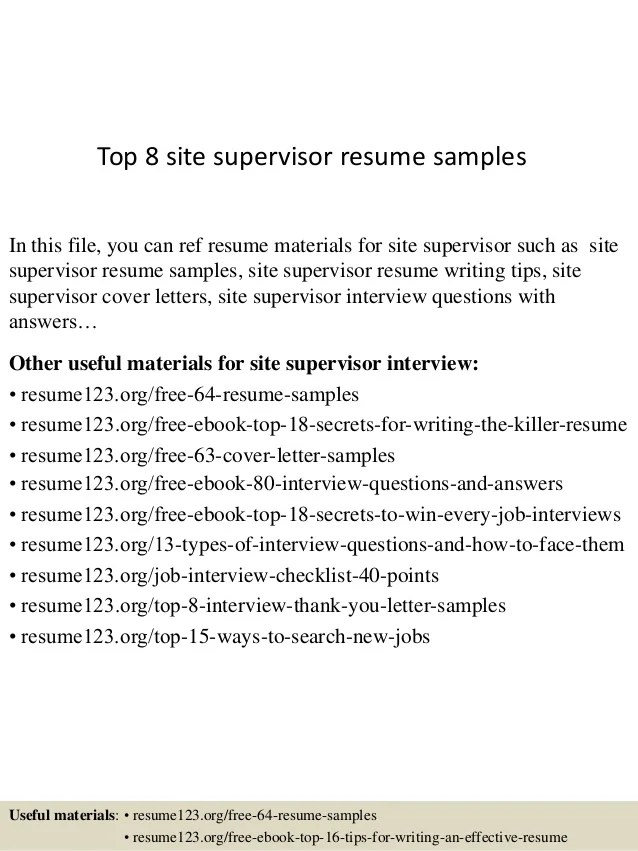 Top 8 Site Supervisor Resume Samples 1 638 ?cb=1430100204