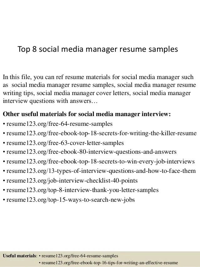 top 8 social media manager resume samples