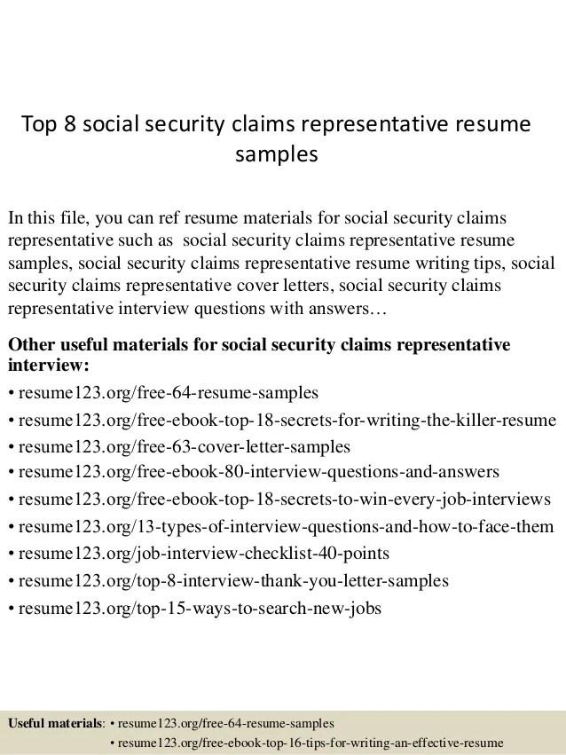 Top 8 social security claims representative resume samples