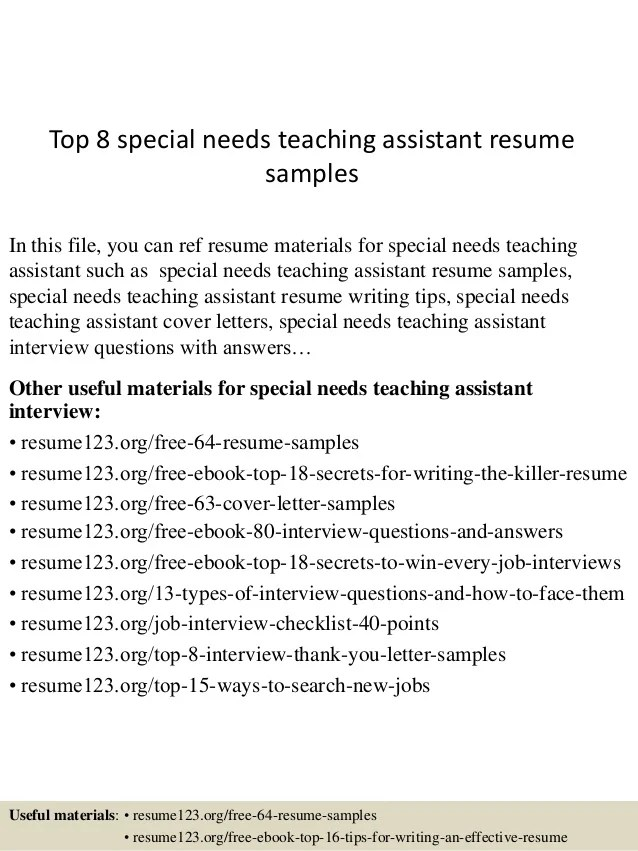 Top 8 Special Needs Teaching Assistant Resume Samples