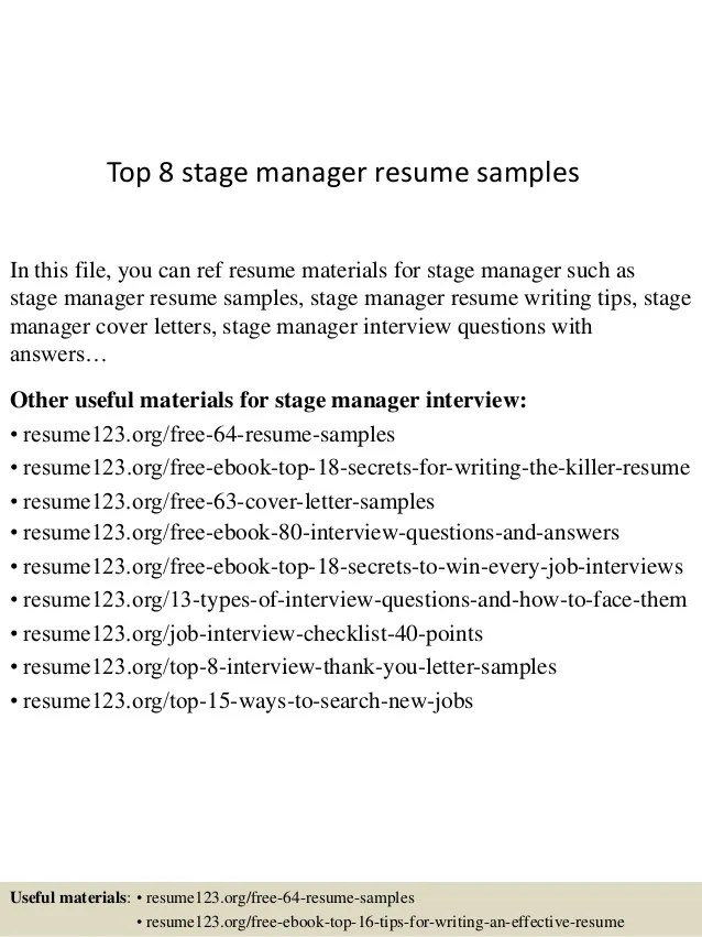 top 8 stage manager resume samples