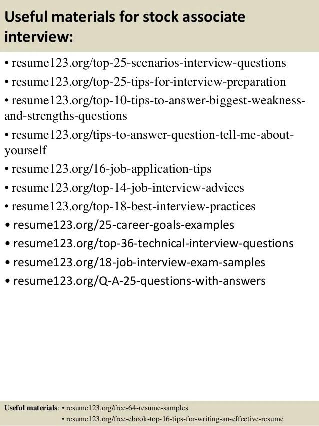 Top 8 Stock Associate Resume Samples