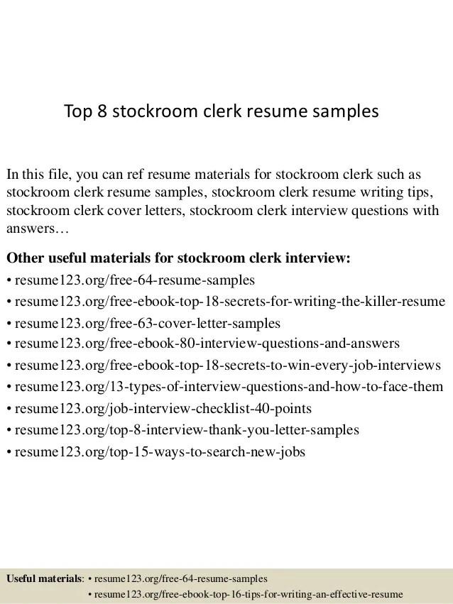 Top 8 stockroom clerk resume samples