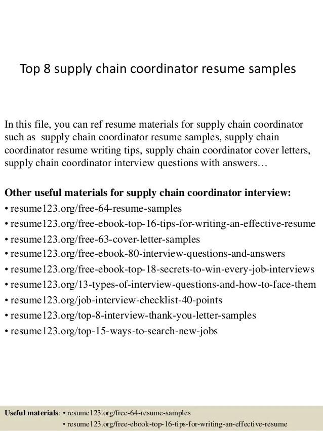 supply chain coordinator resume sample