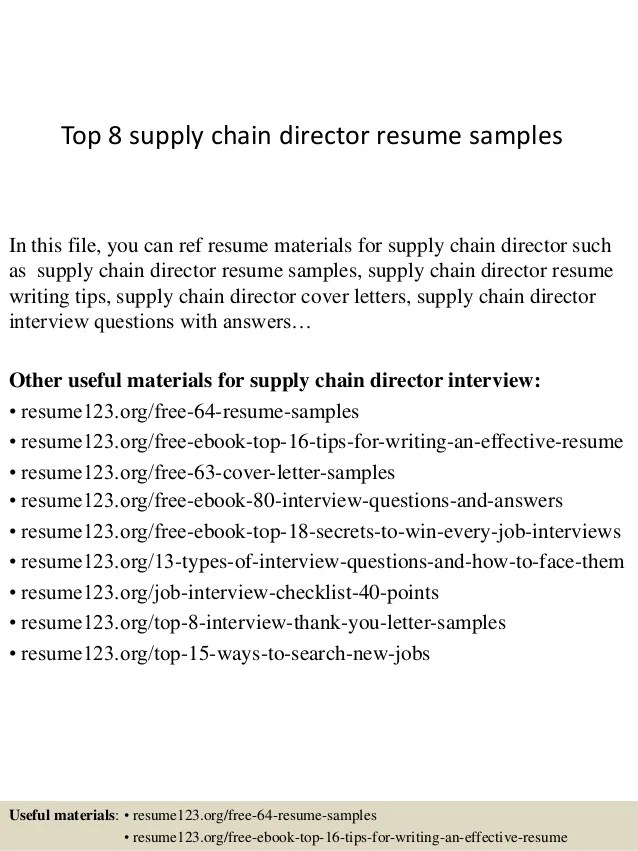 Top 8 Supply Chain Director Resume Samples