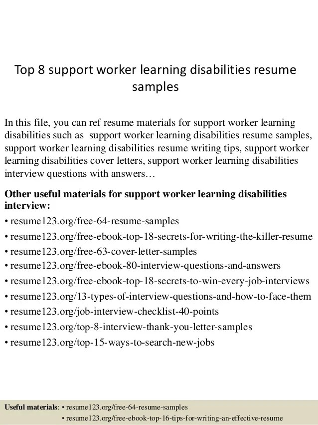 Disability Support Worker Resume Example