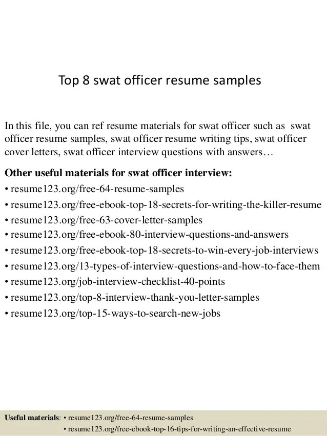 Top 8 swat officer resume samples