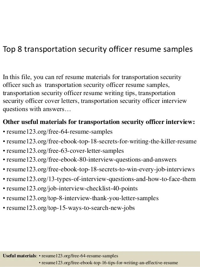 Top 8 Transportation Security Officer Resume Samples 1 638 ?cb=1431590600