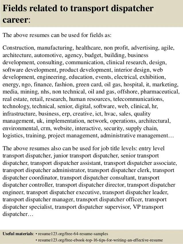Top 8 Transport Dispatcher Resume Samples